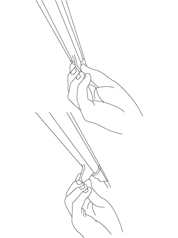 An illustration showing a hand moving the illumination-control tab on a Twist LED Task Light into two different positions.