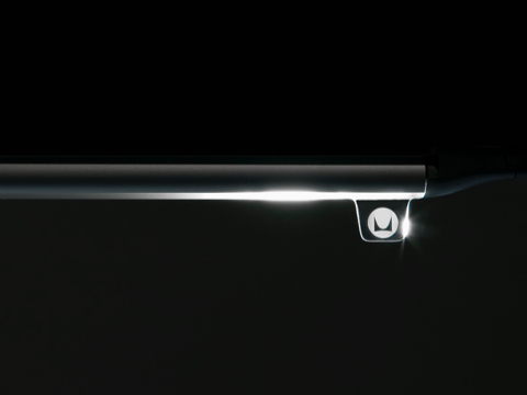 Soft illumination emits from the slim, tubular Twist LED Task Light.