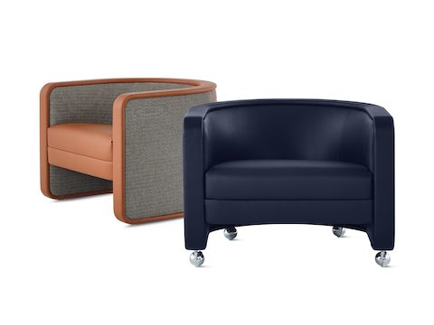 Pair of U-Series Lounge Chairs, one upholstered in Wool Tweed Umber and the other upholstered in Tenera Sapphire.