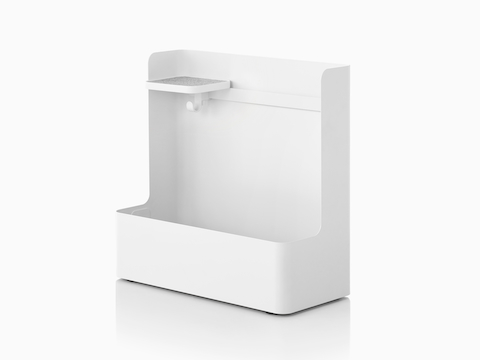 A white Ubi Mobile Bag Catch with an adjustable shelf and storage compartment for personal items.