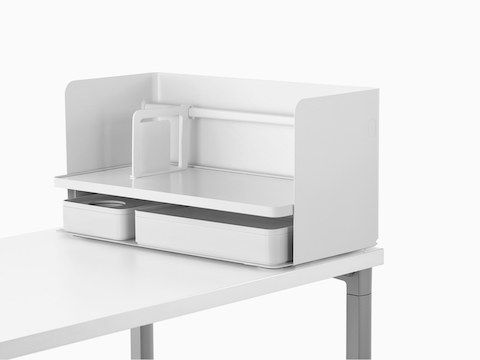 A large white Ubi Organizer with a bookend and two storage boxes.