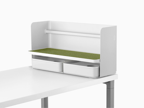 A small white Ubi Organizer with a green non-skid shelf and two storage boxes.