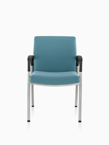 A blue Valor Multiple Seating chair with a memory foam seat, steel frame, and black arms, viewed from the front.