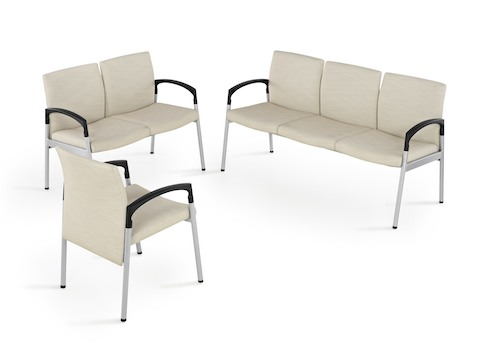 Single-seat, two-seat, and three-seat versions of Valor healthcare seating with beige upholstery.