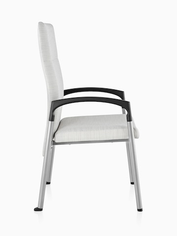 Profile view of an off-white Valor Patient Chair with a memory foam seat, steel frame, and black arms.