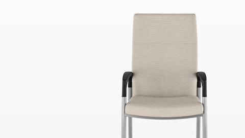 A beige Valor Patient Chair with a memory foam seat, steel frame, and black arms, viewed from the front.