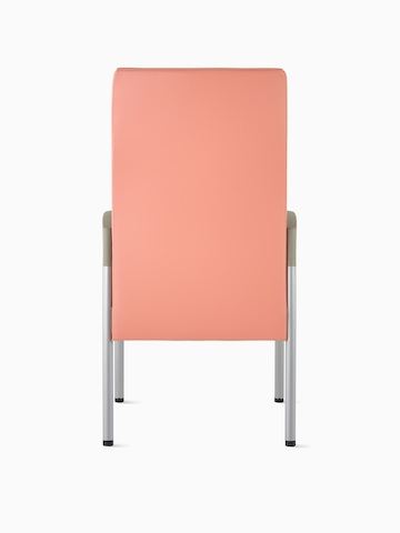 Back view of a high-back Valor Patient Chair in a salmon pink upholstery and silver frame with pewter armcaps.