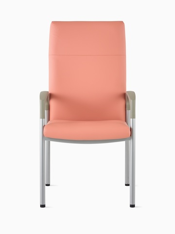 Front view of a high-back Valor Patient Chair in a salmon pink upholstery and silver frame with pewter armcaps.