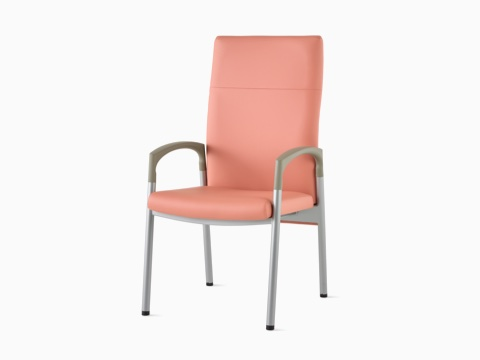 Three-quarter, front view of a high-back Valor Patient Chair in a salmon pink upholstery and silver frame with pewter armcaps.