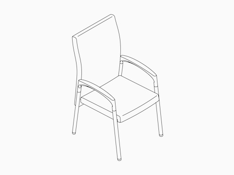 A line drawing of a Valor Patient Chair.