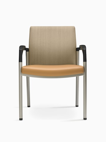 A Valor Stack Chair with an orange seat and beige back, viewed from the front.