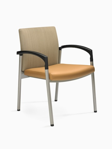 A Valor Stack Chair with an orange seat and beige back, viewed from a 45-degree angle.