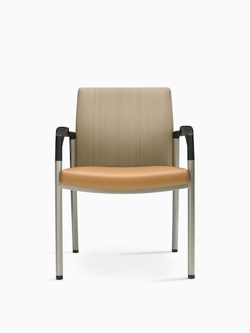 A Valor Stack Chair with a burnt-orange seat, beige back, and black arms.