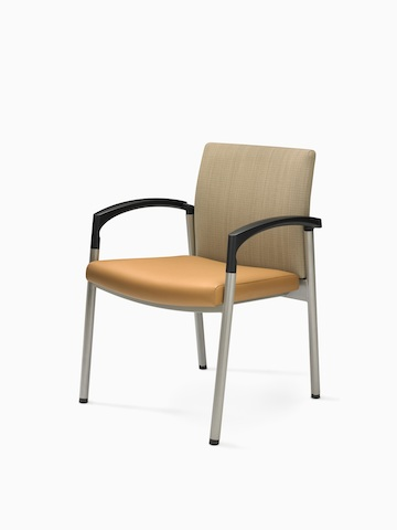 A Valor Stack Chair with a burnt-orange seat and beige back. Select to go to the Valor Stack Chair product page.