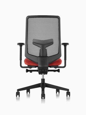 Verus office chair with a gray suspension back and red upholstered seat, viewed from the back.