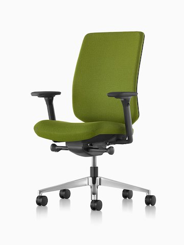Green Verus office chair with an upholstered seat and back, viewed from a 45-degree angle.