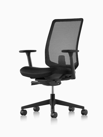 Black Verus office chair with a suspension back and upholstered seat, viewed from a 45-degree angle.