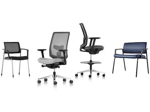 The Verus seating family: black four-leg side chair, gray office chair, black stool, and blue plus chair.