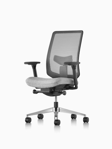 A black Verus office chair with a gray upholstered seat. Select to go to the Verus Chairs product page.