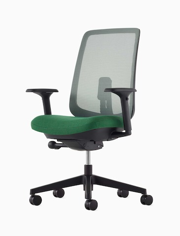 A Verus Chair with a green suspension back, green seat and black frame viewed at an angle.