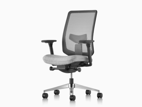 Gray Verus office chair with a suspension back and upholstered seat, viewed from a 45-degree angle.