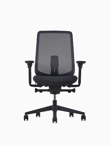 A black Verus office chair with a gray upholstered seat.