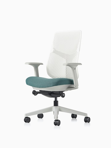 A Verus Chair with a blue upholstered seat and white Triflex back.