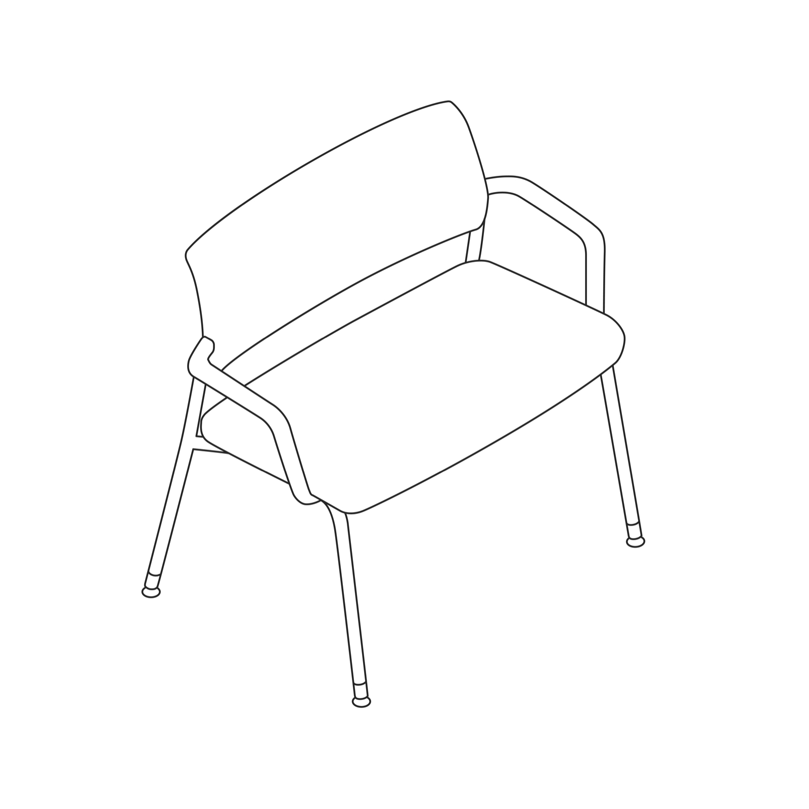 A line drawing of a Verus Plus Chair.