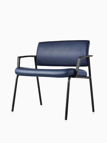 Angled view of a Verus Plus Chair with arms upholstered in blue vinyl. Select to go to the Verus Plus Chairs product page.