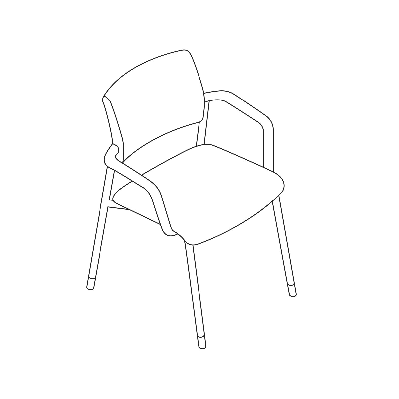 A line drawing of a Verus Side Chair.