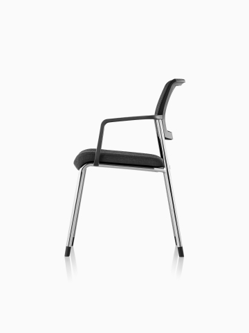 Profile view of a black Verus Side Chair with an upholstered seat and back.