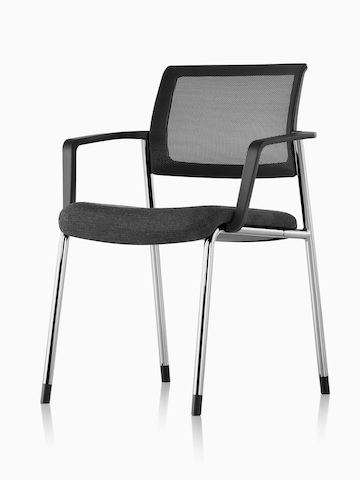Black Verus Side Chair with a suspension back and upholstered seat, viewed from a 45-degree angle.
