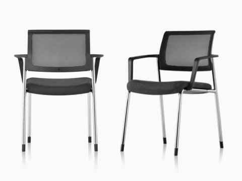 Two black Verus Side Chairs with a suspension back and upholstered seat.