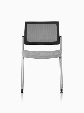 Front view of a gray Verus Side Chair with gray suspension back and black frame with no arms.