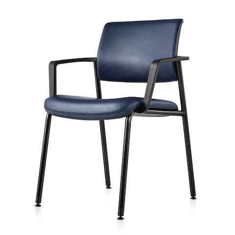 An angled view of a blue Verus Side Chair.