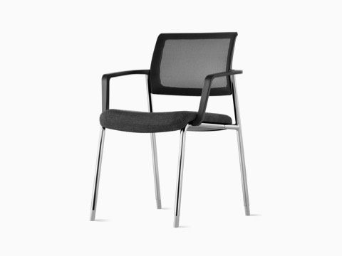 A black Verus Side Chair with arms and black suspension back at an angle.