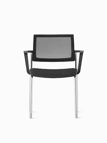 A black Verus Side Chair with silver legs.