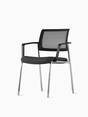 An angle view of a black Verus Side Chair with silver legs. Select to go to the Verus Side Chairs product page.