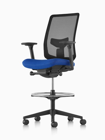Black Verus Stool with a suspension back and blue upholstered seat, viewed from a 45-degree angle.