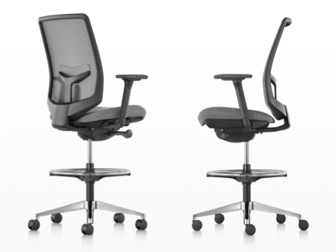 Rear and profile views of two black Verus Stools with suspension backs and gray upholstered seats.