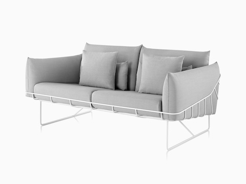Gray Wireframe Sofa with white frame, viewed from the front.