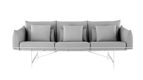 A light gray Wireframe three-seat sofa, viewed from the front.