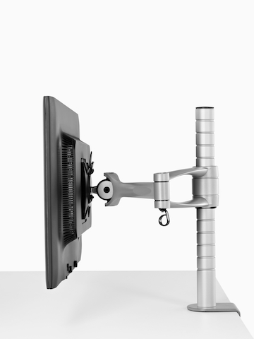 A single monitor attached to a Wishbone Monitor Arm post.