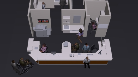 A computer generated image of a proposed office setup.