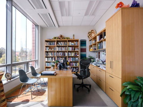 A faculty member's office area with a Mirra chair and abundant natural light.