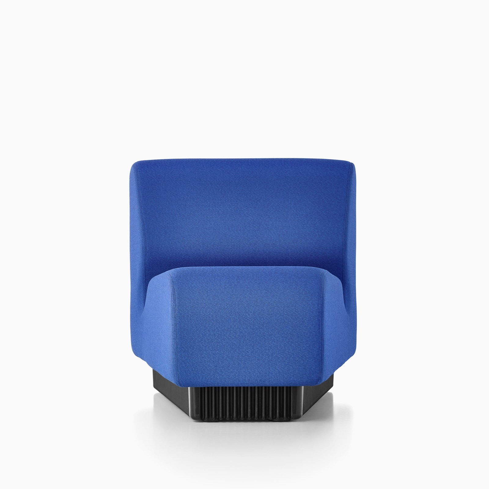 A front view of one unit of Chadwick Modular Seating in blue.