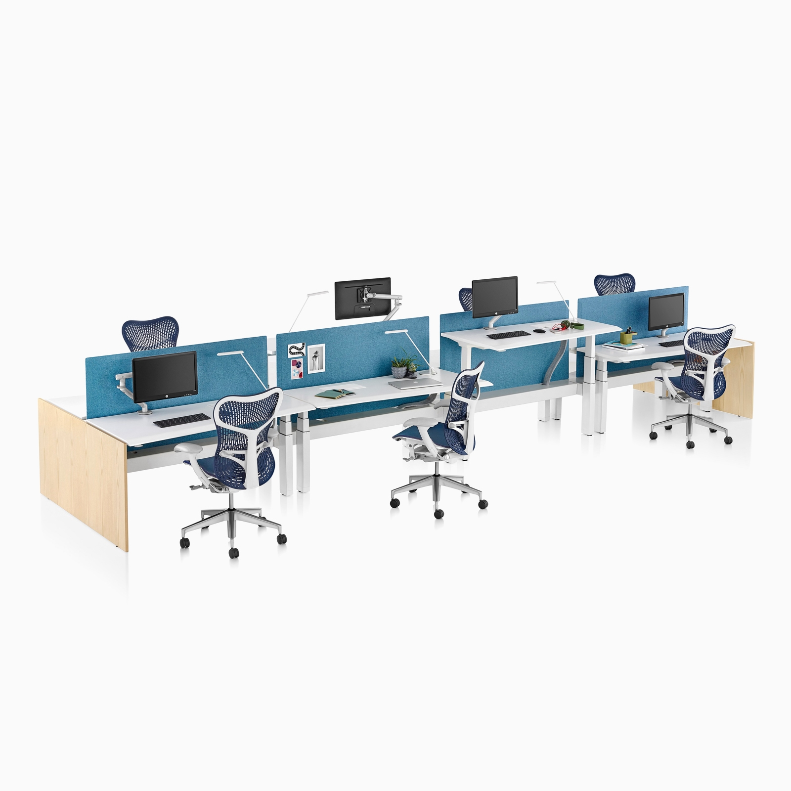 A side view of four Renew Link sit-to-stand desks with blue Sayl Chairs and divided by a blue screen. Select to go to the Renew Link product page.
