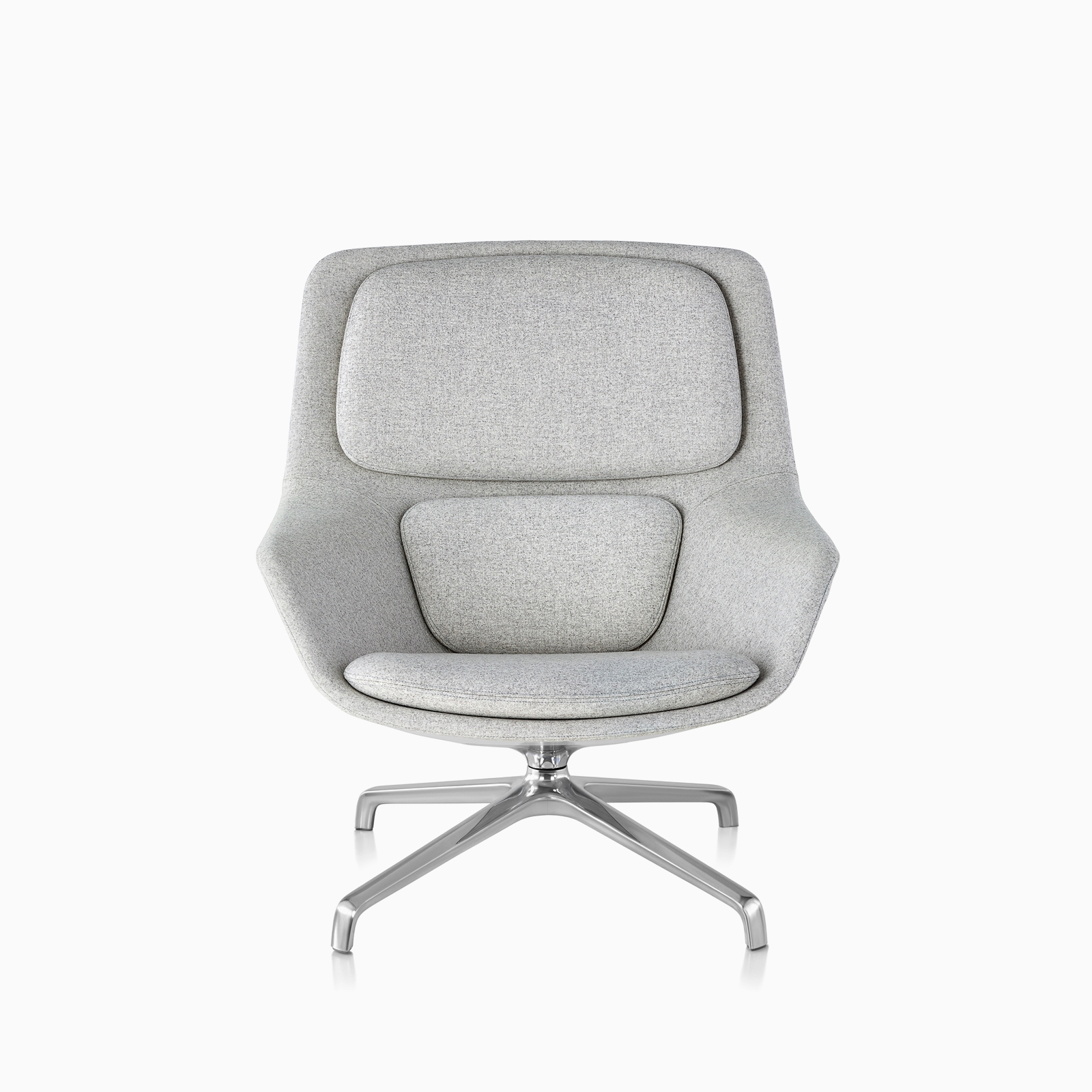 A front view of a light gray Striad Lounge Chair with silve legs.