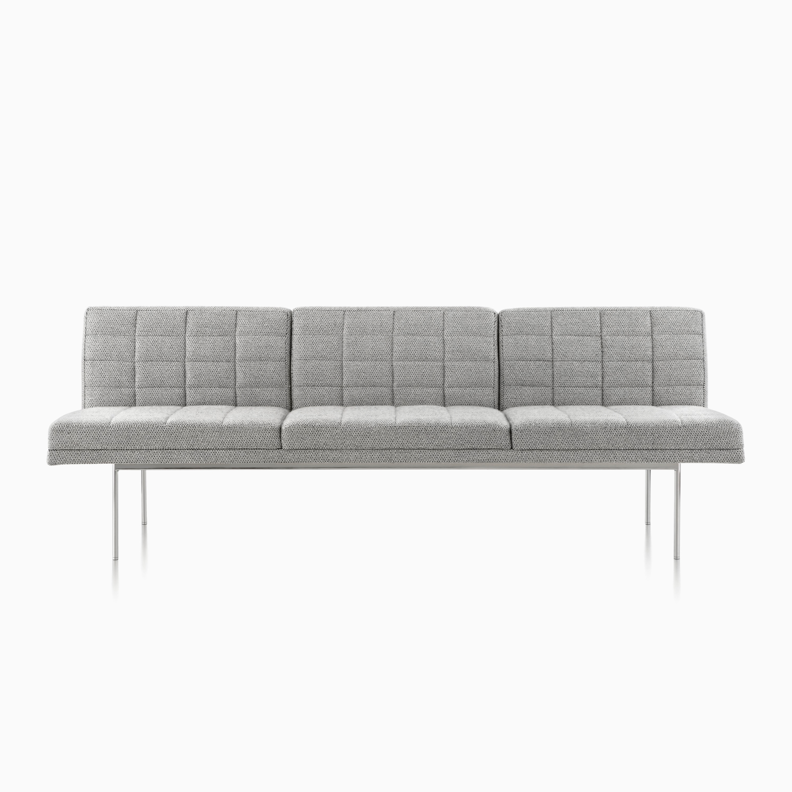 A front view of a light gray Tuxedo Sofa with silver legs.