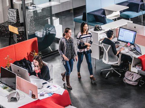 Office employees work and talk amidst an open office design.